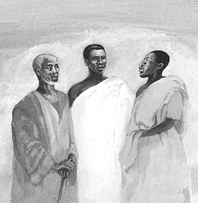 black and white painting of Jesus at the transfiguration appearing with Moses and Elijah