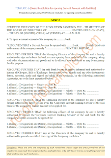 board resolution format for opening current account