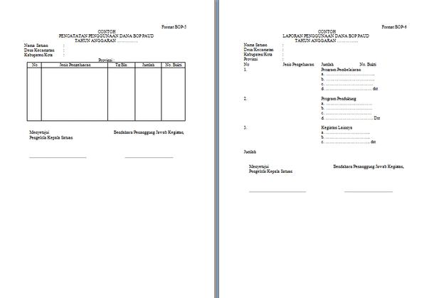 Format Laporan Penggunaan Dana BOP PAUD