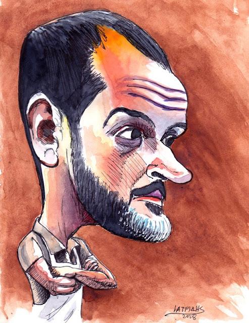 Γιώργος Φασιλής Καρικατούρα του IaTriDis για τον παίκτη του MasterChef που αποχώρησε.