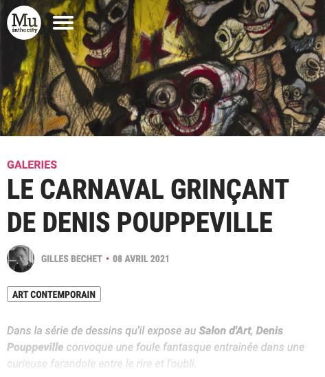 article de gilles bechet à propos de l'exposition de pouppeville au salon d'art dans muinthecity du 8 avril 2021