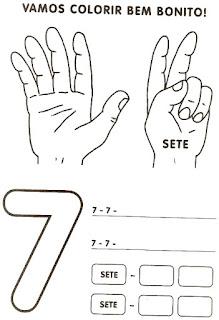 Numeral 7 escrever e colorir