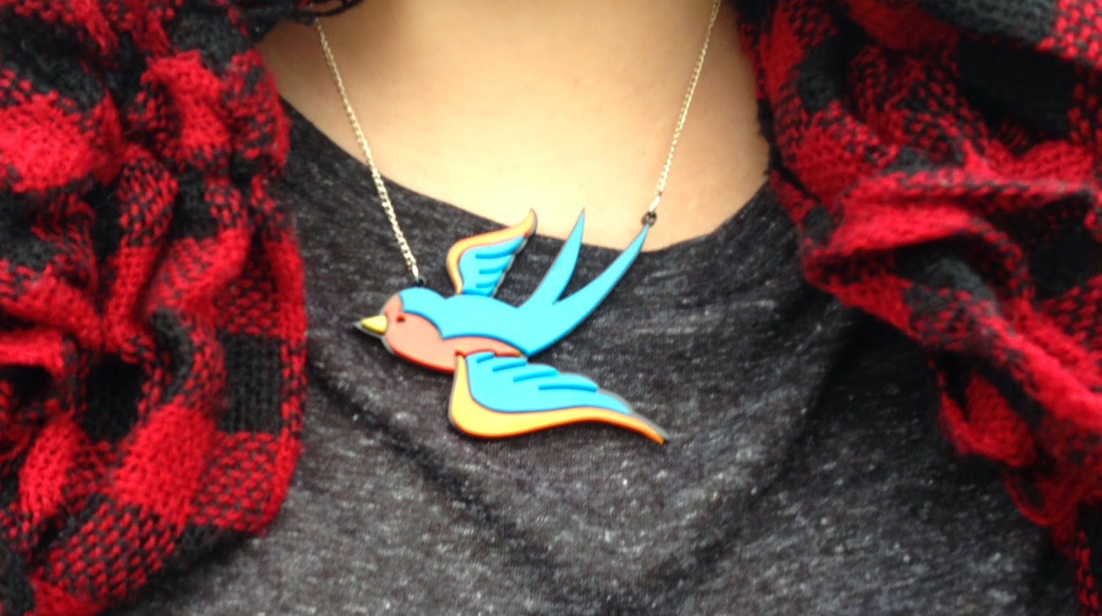 Funky Laser Swallow Necklace