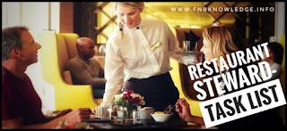 Restaurant Steward Task list