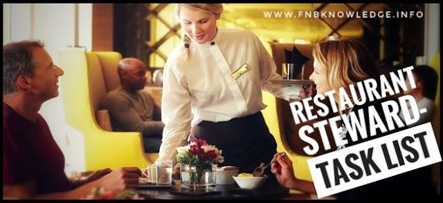 Restaurant Steward- Task list