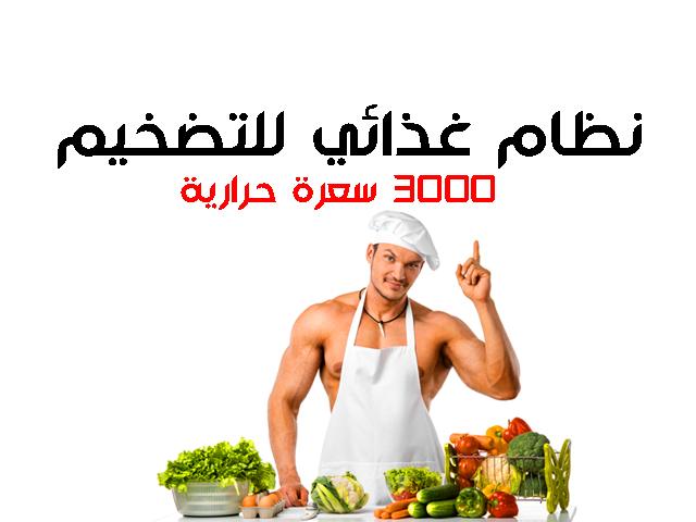 نظام غذائي للتضخيم 3000 سعرة حرارية