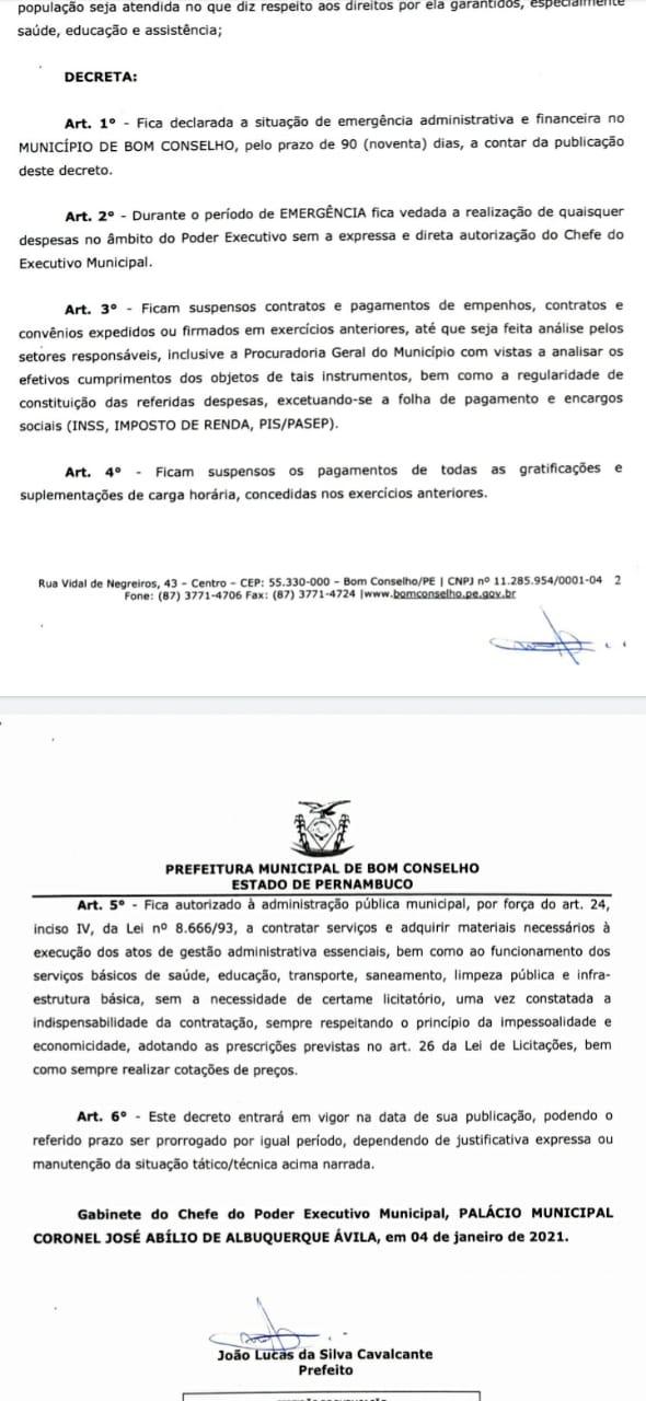 EM QUATRO DIAS DE GESTÃO PREFEITO DE BOM CONSELHO DECLARA SITUAÇÃO DE EMERGÊNCIA ADMINISTRATIVA E FINANCEIRA