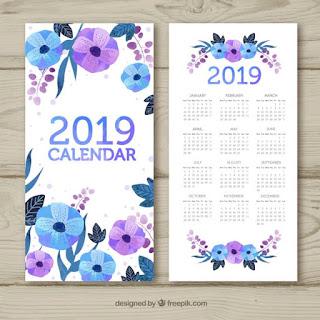 Calendario de acuarela para el año 2019