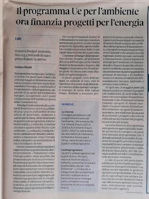 Articolo Life 2021 2027 S.Picchi Sole 24 Ore 6 6 2021