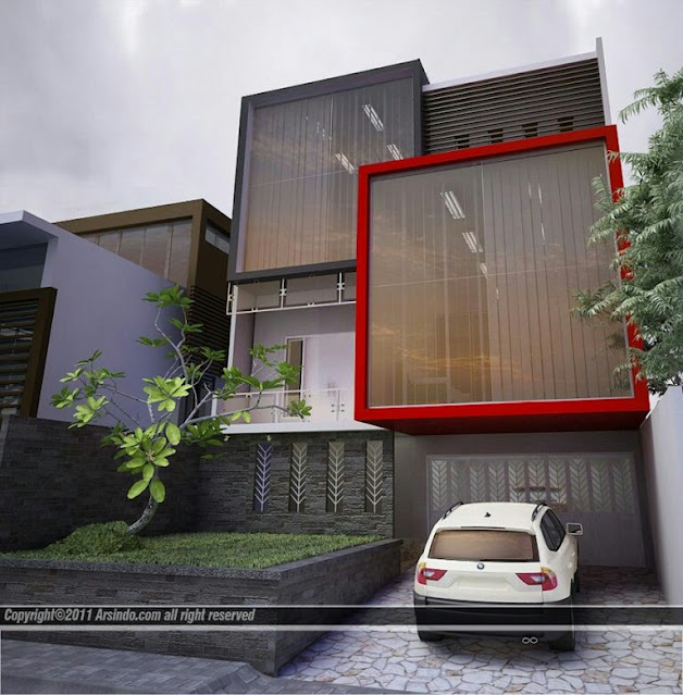 Minimalist 2-Story House with Full-Height Window