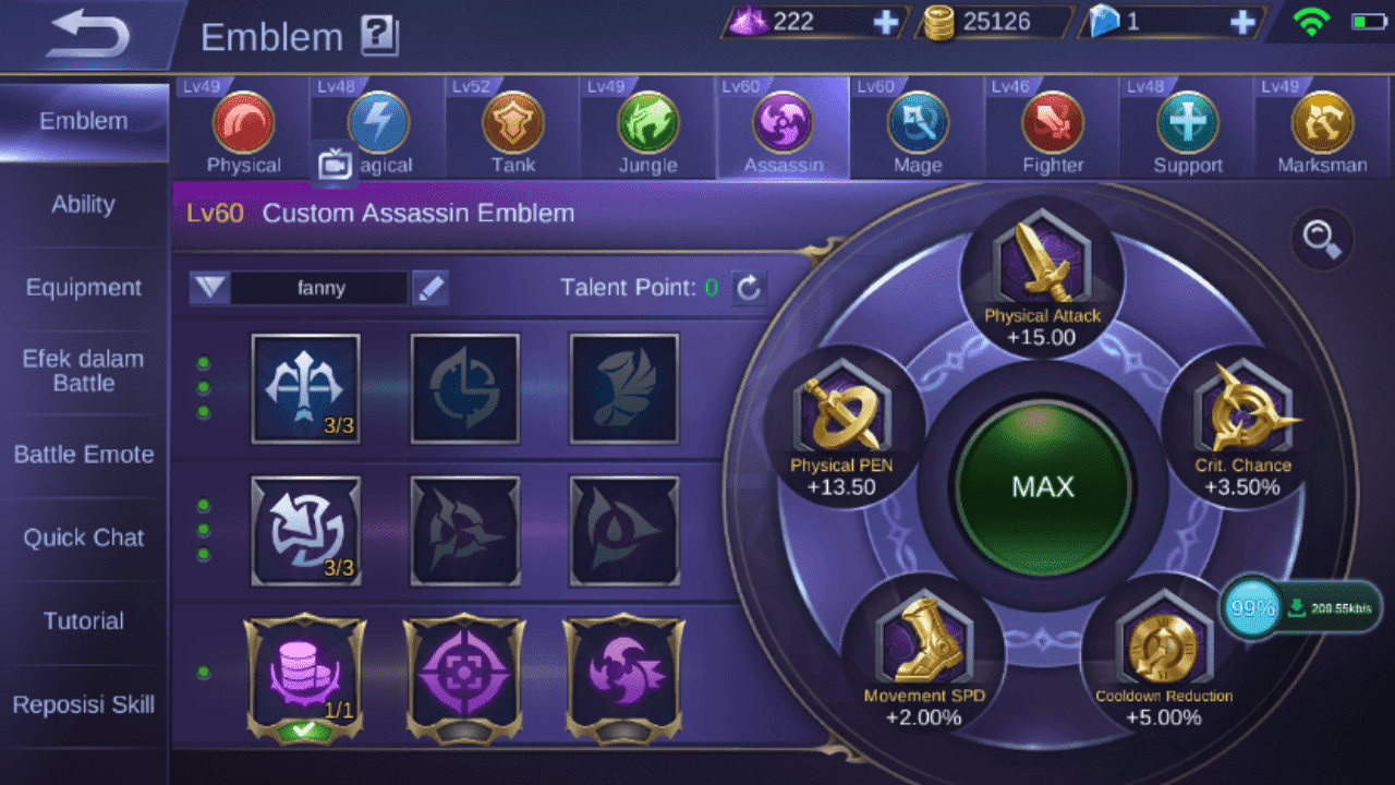 emblem terbaik lancelot mobile legends