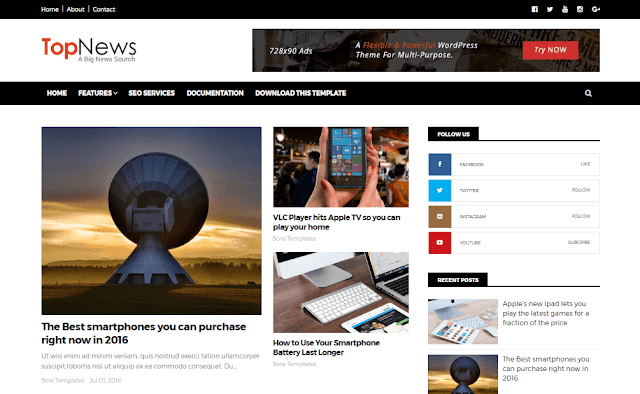 Top News mobile friendly blogger template