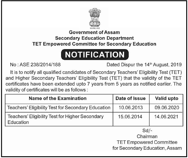 Assam Secondary TET Validity Extended