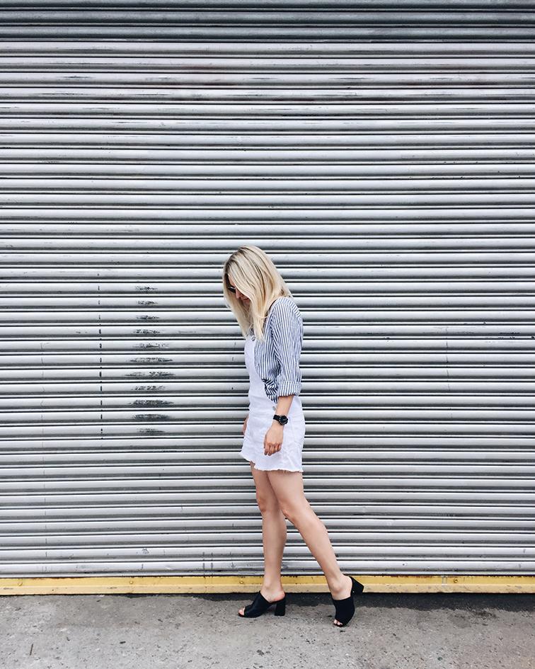 heleneisfor, Cotton On shirt and shortalls, Maryam Nassir Zadeh mules, Brooklyn, Shore Projects watch, Ray-Ban Lennon sunglasses, Hélène Heath, fashion over reason