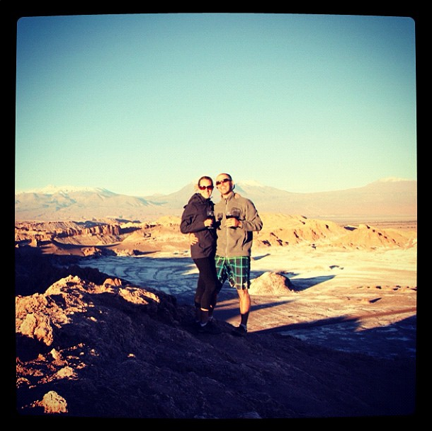"Toasting to Moon Valley in the Atacama Desert, Chile. - This Couple Said ""I Do"" To A Round The World Adventure."