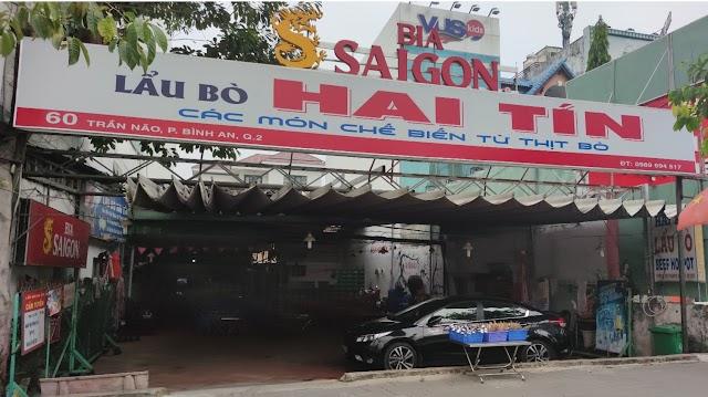Địa chỉ quán Lẩu Bò Hai Tín: 60 Trần Não, Bình An, Quận 2