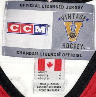 NHL CCM Vintage Hockey jerseys - inside neck labels - closeup