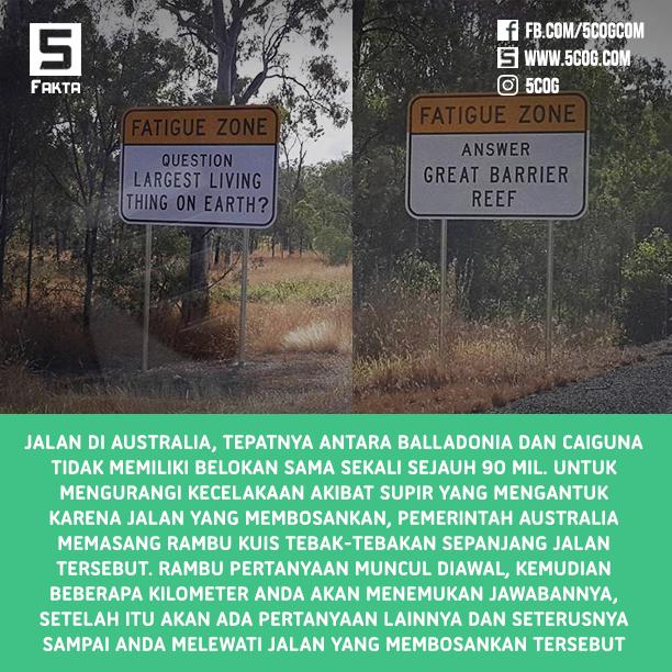 Untuk Menghindari Rasa Ngantuk, Jalan di Australia Memiliki Rambu Tebak-Tebakan