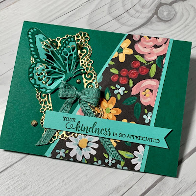 Floral Greeting card using Flower & Field Designer Series Paper from Stampin' Up! Sale-A-Bration 2021