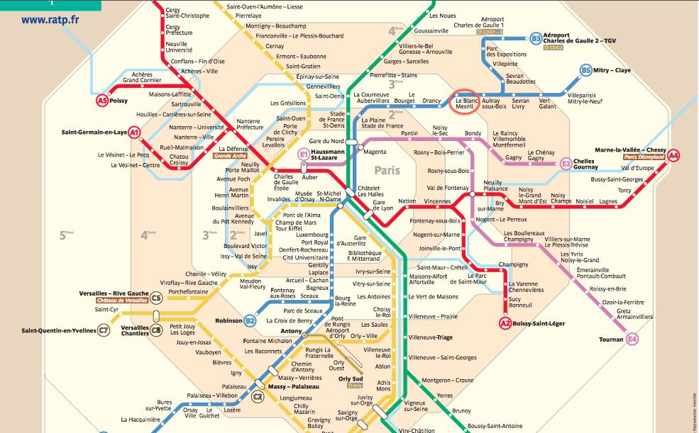 Paris France Metro Zones 1-6 Map
