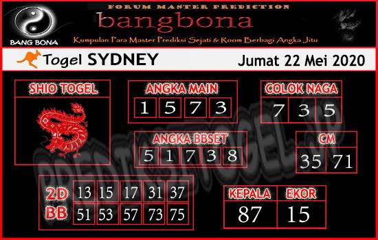 Prediksi Togel Sydney Jumat 22 Mei 2020 - Bang Bona