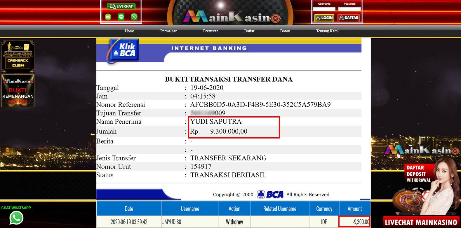 Selamat Kepada Member Setia MAIN KASINO Withdraw RP  9.300.000