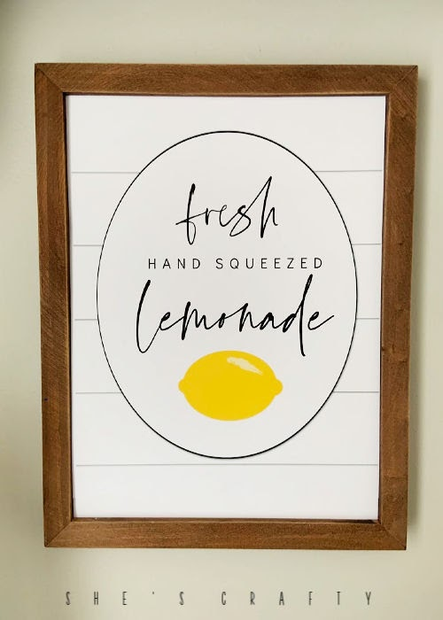 Fresh Hand Squeezed Lemonade  |  Free Printable  |  Summer Home Decor