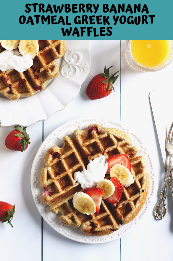 Strawberry Banana Oatmeal Greek Yogurt Waffles