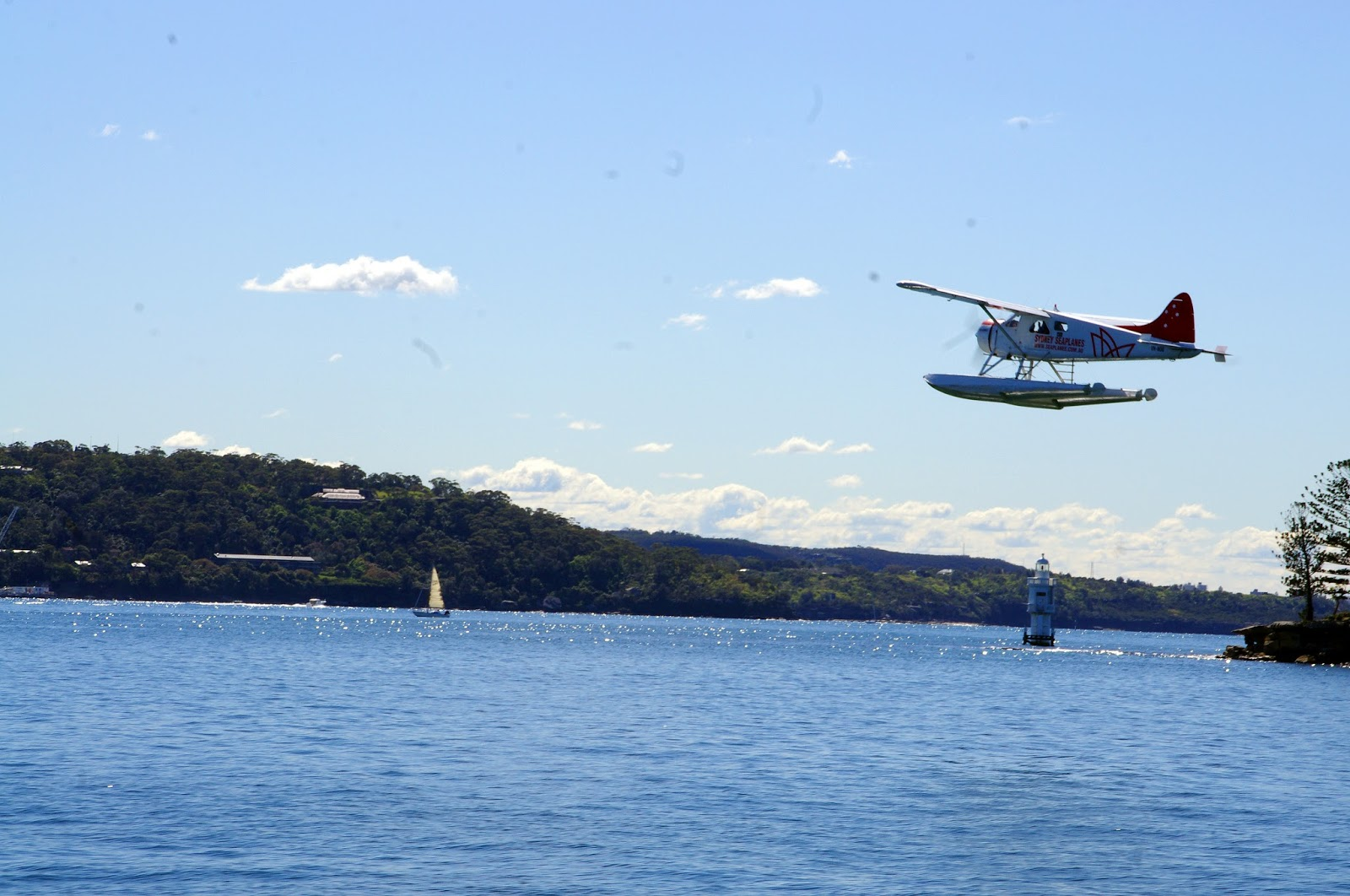 Sea plane taking off in Sydney harbour