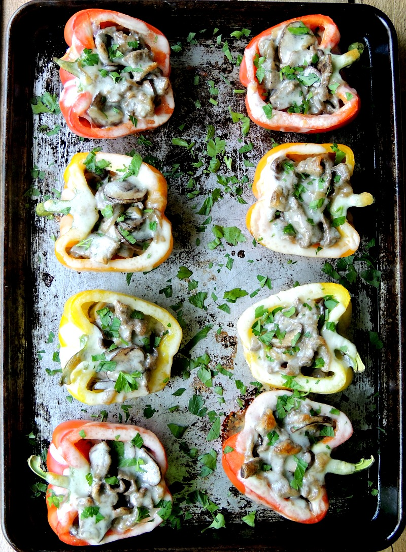 Philly Cheesesteak Stuffed Peppers on a metal baking sheet.