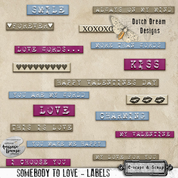 SOMEBODY TO LOVE WORDART LABELS