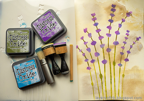 Layers of ink - Lavender Art Journal Page by Anna-Karin Evaldsson. Ink with Distress Oxide.