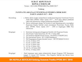SK KEPALA SEKOLAH tentang Susunan Panitia PPDB 2017 2018