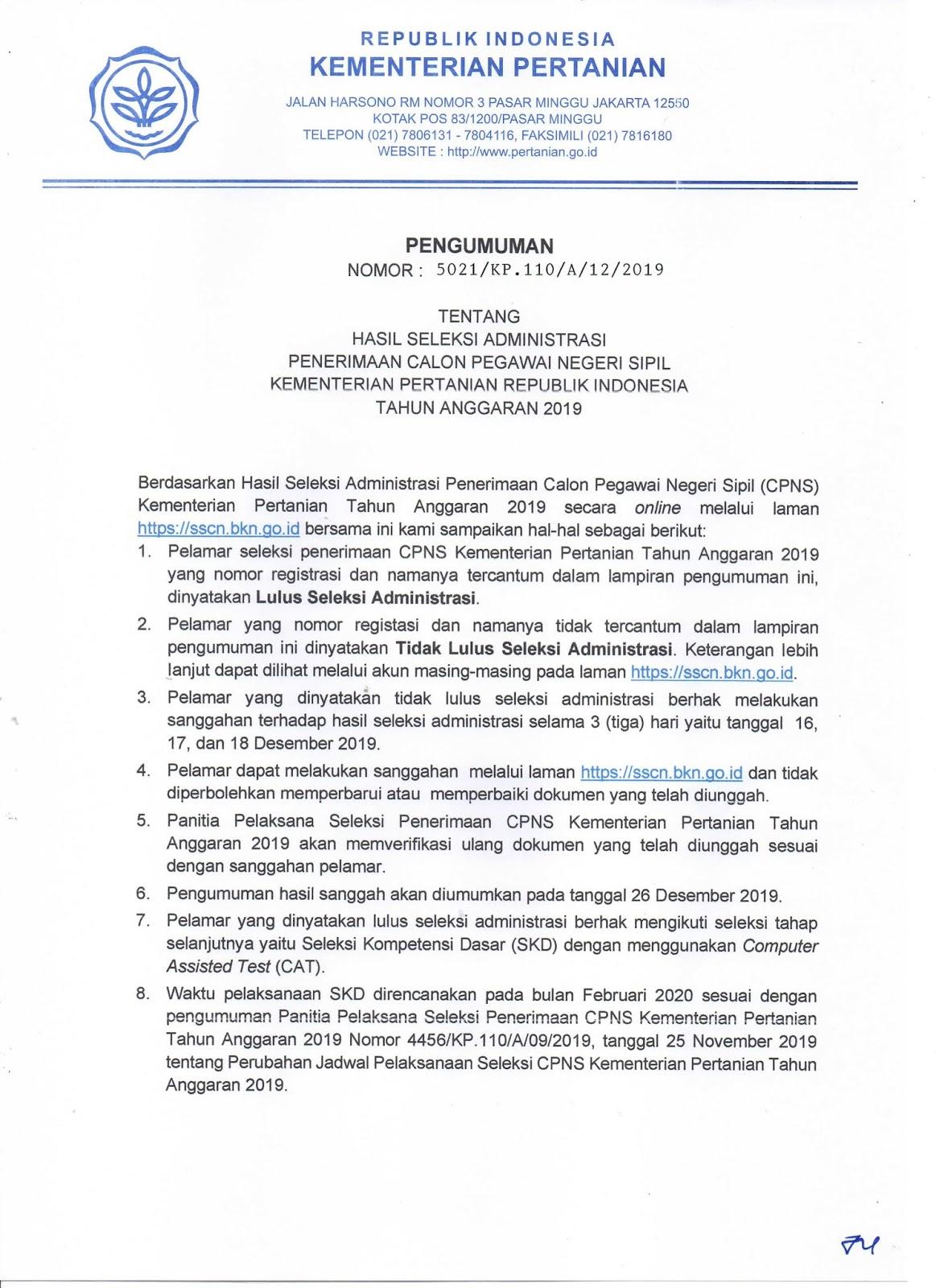 Hasil Seleksi Administrasi CPNS Kementerian Pertanian Tahun Anggaran 2019