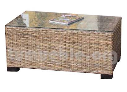 mesa de centro hecho en rattan natural j510