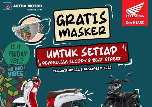 Masker Keren Setiap Membeli Honda Scoopy dan BeAT Street di Astra Motor Kalbar