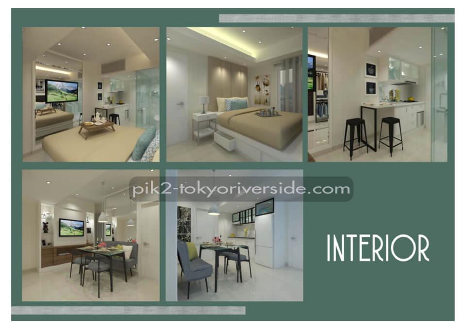 Contoh interior design apartemen Tokyo Riverside PIK 2 Jakarta