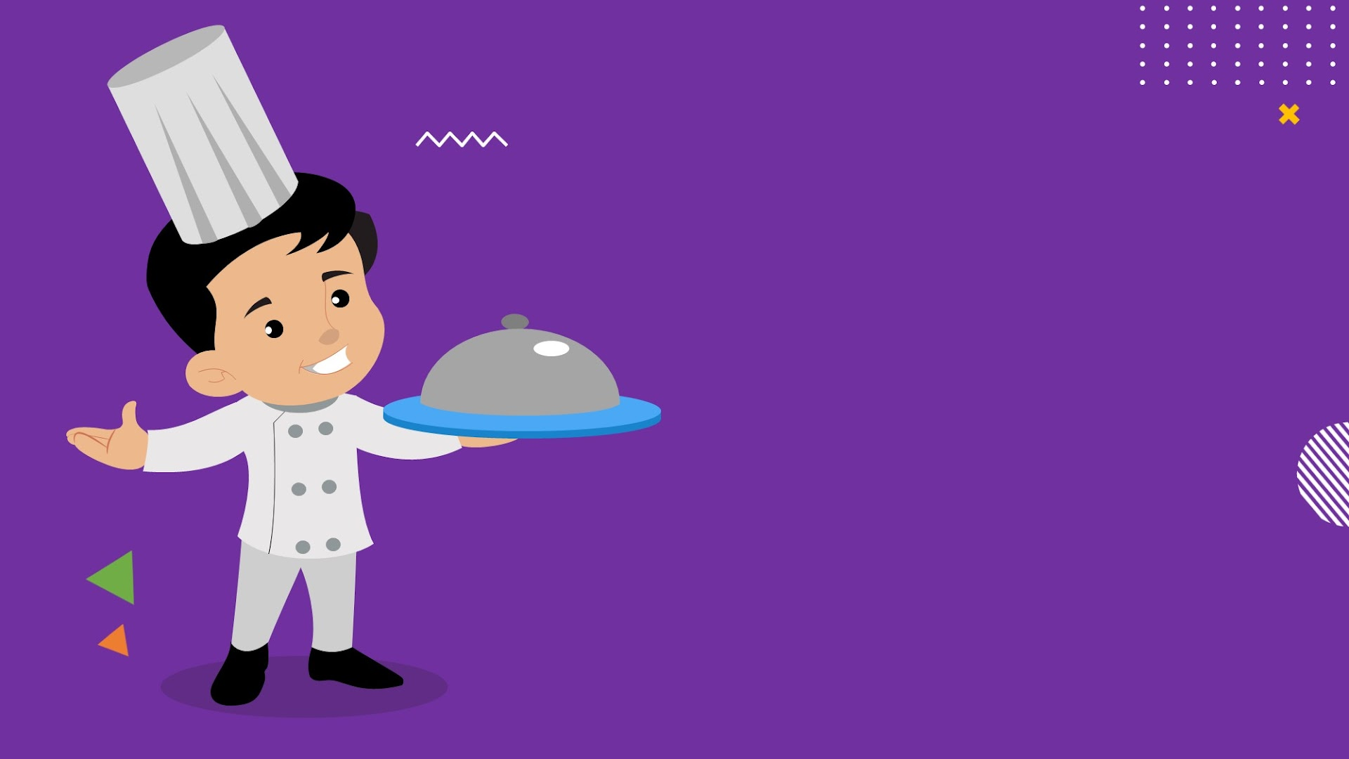 Cartoon Chef Standing on purple background  - free background for Presentations