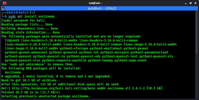 asciinema installing on Kali Linux
