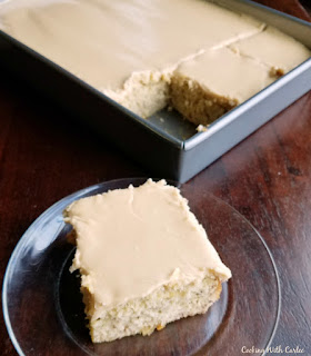 slice of di's banana cake with easy caramel frosting on top