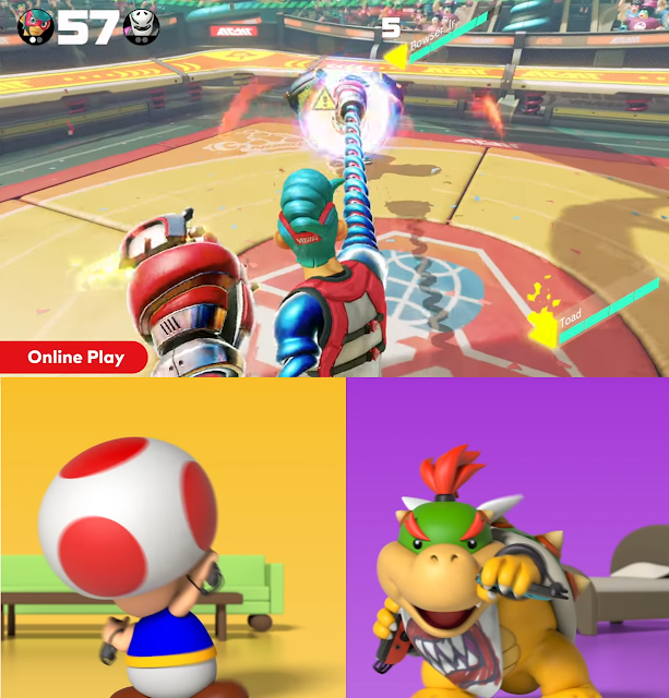 Bowser Jr. vs Toad in ARMS dancing looking away from the TV Nintendo Switch Online