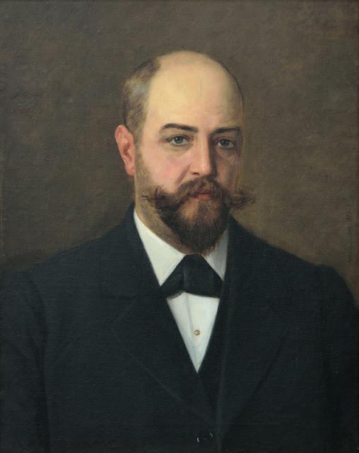 Kuvassa maalaus, jossa sosittain kalju, kokopartainen mieshenkilö kuvattuna rintakehästä ylöspäin.