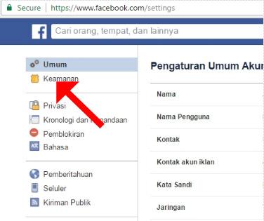 Pada pengaturan umum akun fb, klik kemanan