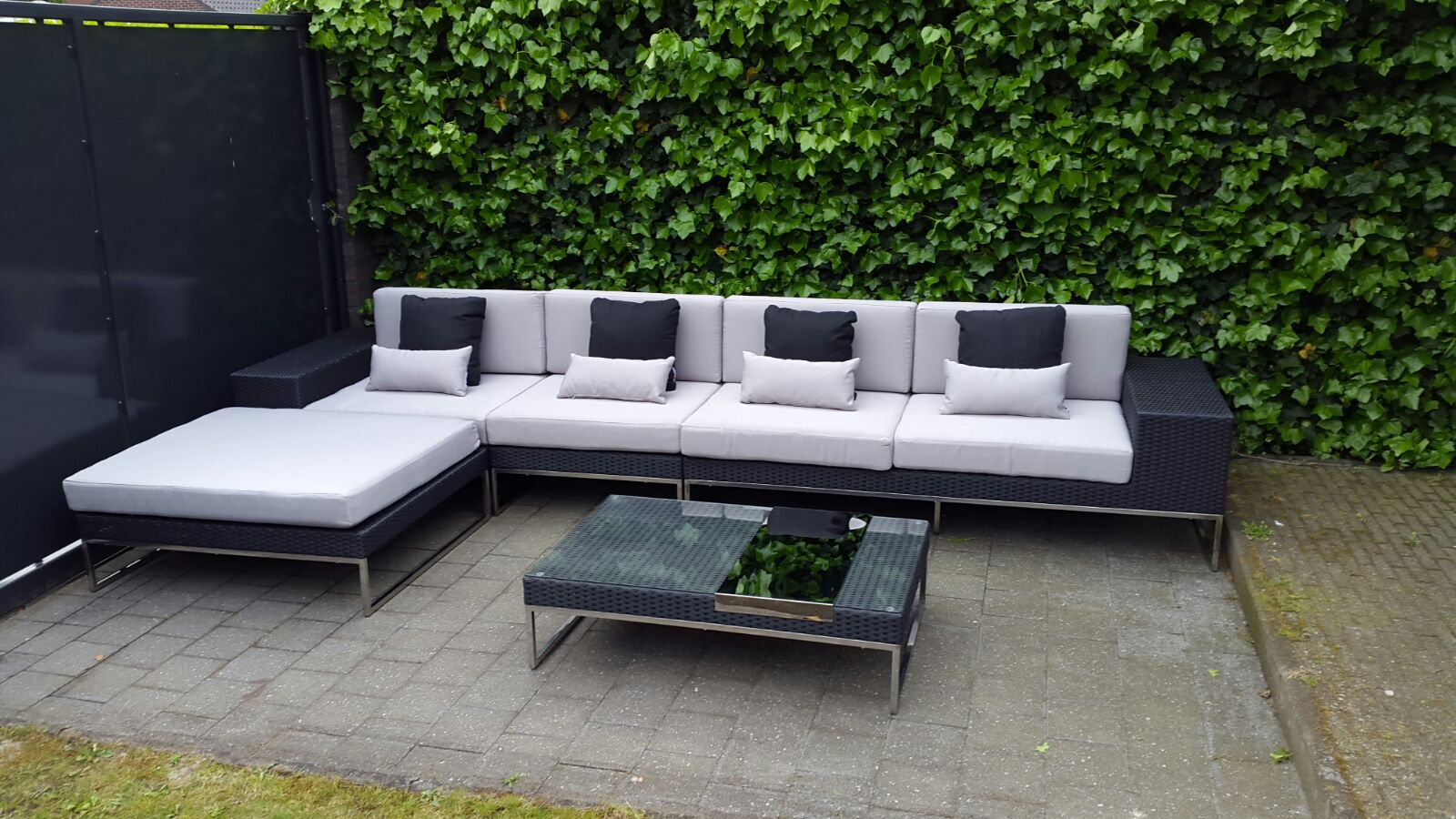 Arbrini design tuinmeubelen - Zwarte bank lounge ...