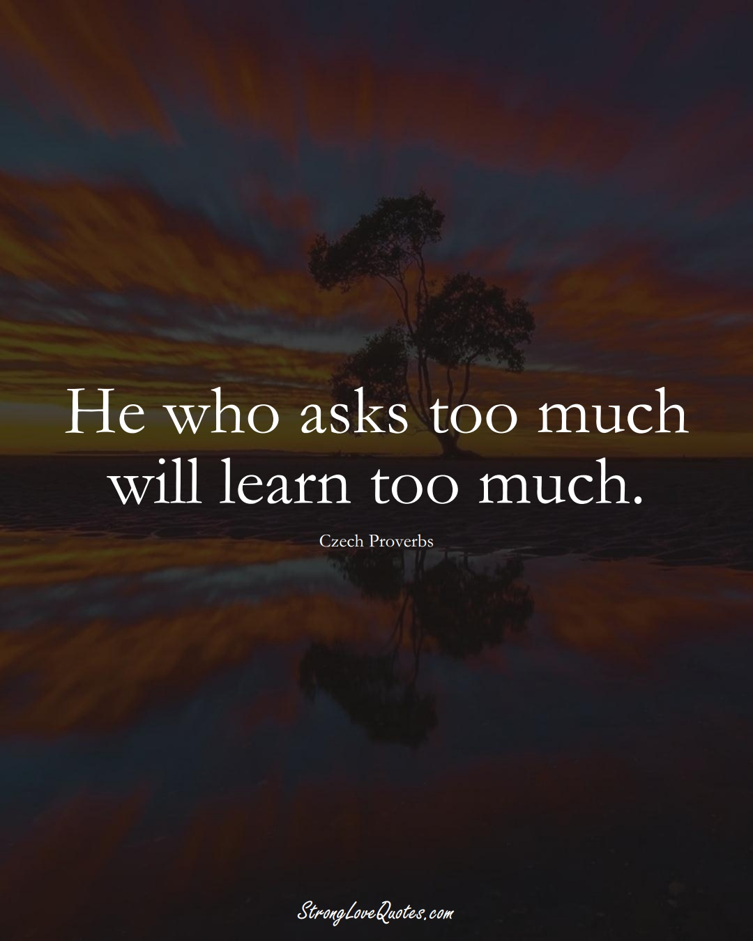 He who asks too much will learn too much. (Czech Sayings);  #EuropeanSayings