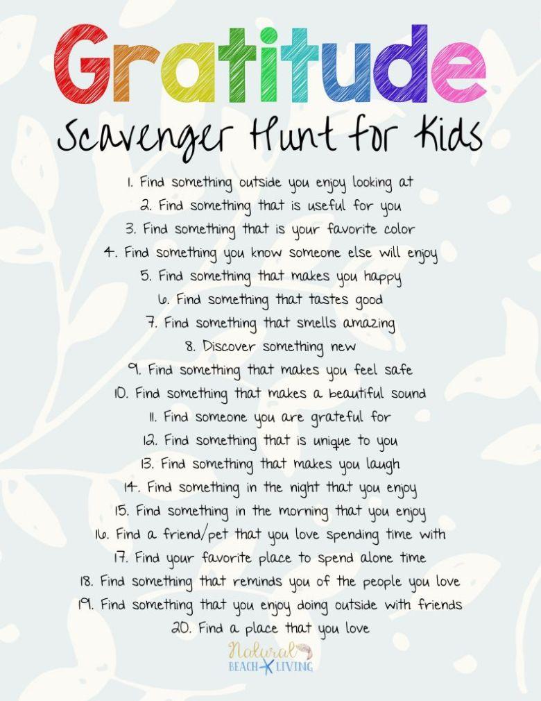 Gratitude scavenger hunt for kids