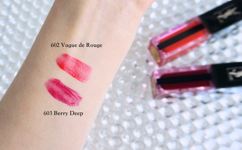 YSL Water Stain 602 Vague de Rouge 603 In Berry Deep swatches