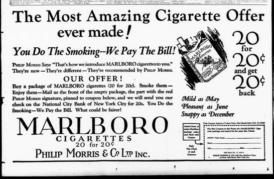 Marlboro ad February 1926