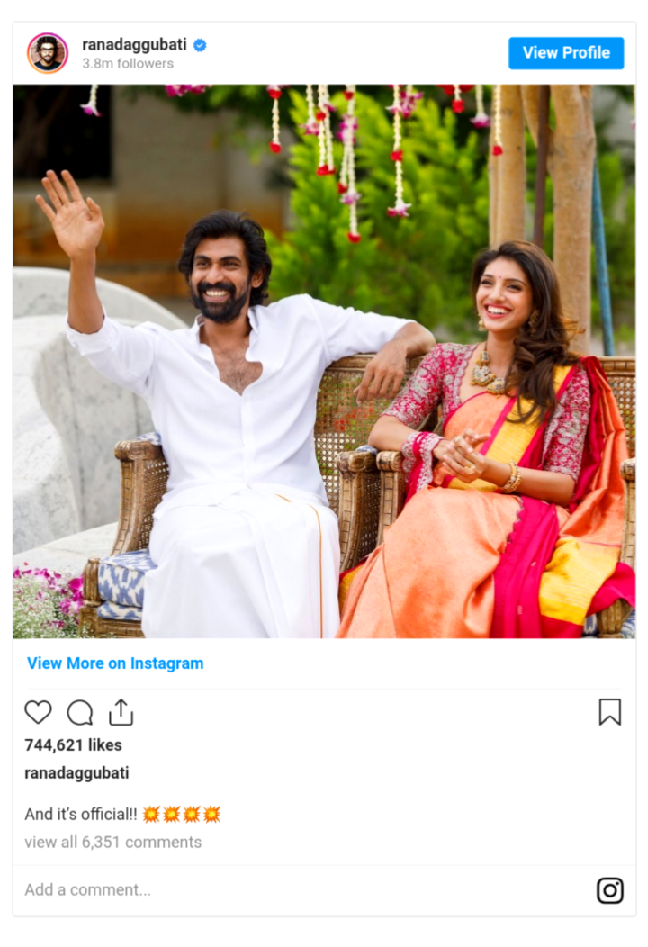 Rana Daggubati has officially confirmed his engagement with girlfriend Miheeka Bajaj.....