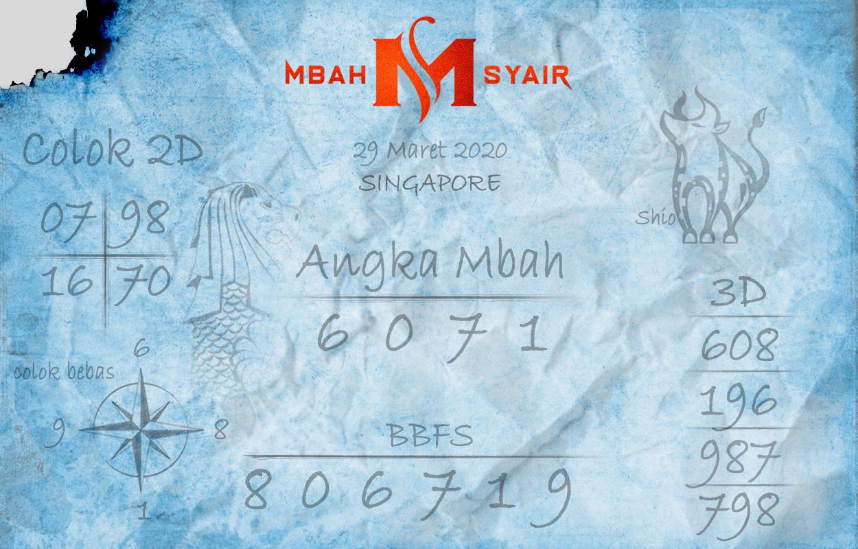 Prediksi Togel Singapura Minggu 29 Maret 2020 - Mbah Syair SGP